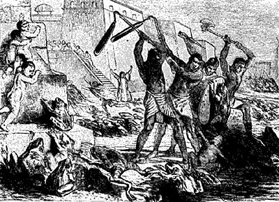 medieval Christian depiction of an attack by giant, plague-ridden frogs